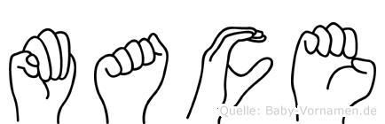 Mace im Fingeralphabet der Deutschen Gebärdensprache