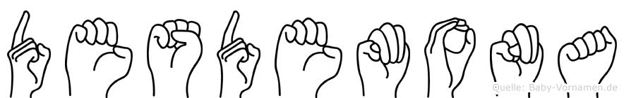 Desdemona im Fingeralphabet der Deutschen Gebärdensprache