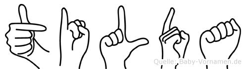 Tilda im Fingeralphabet der Deutschen Gebärdensprache