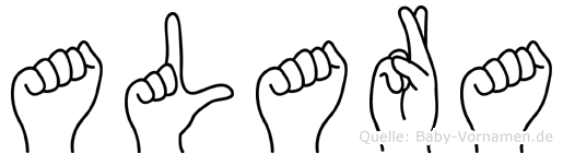 Alara im Fingeralphabet der Deutschen Gebärdensprache