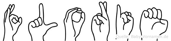 Florie im Fingeralphabet der Deutschen Gebärdensprache