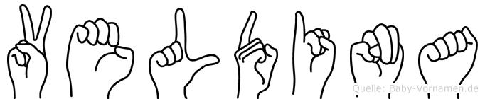 Veldina im Fingeralphabet der Deutschen Gebärdensprache