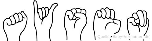 Aysen im Fingeralphabet der Deutschen Gebärdensprache