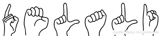 Delali im Fingeralphabet der Deutschen Gebärdensprache