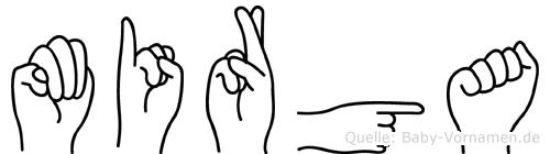 Mirga im Fingeralphabet der Deutschen Gebärdensprache