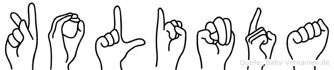Kolinda im Fingeralphabet der Deutschen Gebärdensprache