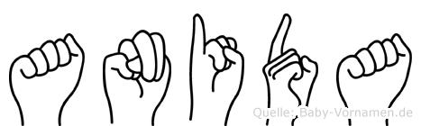 Anida im Fingeralphabet der Deutschen Gebärdensprache