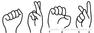 Arek im Fingeralphabet der Deutschen Gebärdensprache