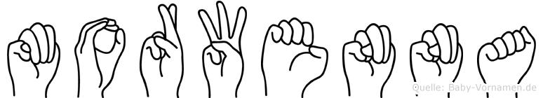 Morwenna im Fingeralphabet der Deutschen Gebärdensprache