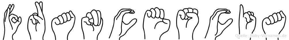 Francescia im Fingeralphabet der Deutschen Gebärdensprache