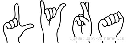 Lyra im Fingeralphabet der Deutschen Gebärdensprache