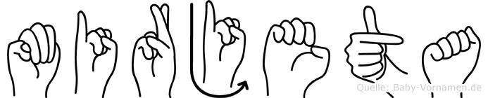 Mirjeta im Fingeralphabet der Deutschen Gebärdensprache