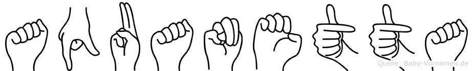Aquanetta im Fingeralphabet der Deutschen Gebärdensprache