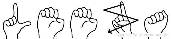Leeza im Fingeralphabet der Deutschen Gebärdensprache