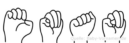 Eman im Fingeralphabet der Deutschen Gebärdensprache