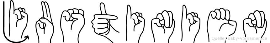 Justinien in Fingersprache für Gehörlose