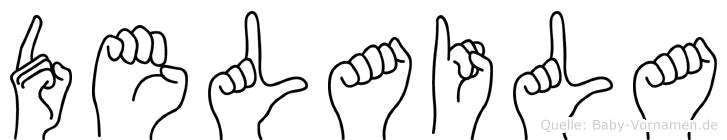 Delaila im Fingeralphabet der Deutschen Gebärdensprache