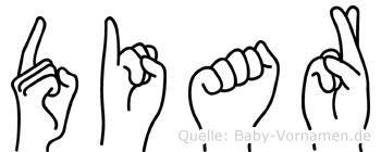 Diar im Fingeralphabet der Deutschen Gebärdensprache
