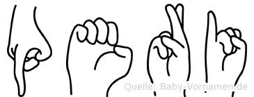 Peri im Fingeralphabet der Deutschen Gebärdensprache
