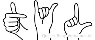 Tyl im Fingeralphabet der Deutschen Gebärdensprache