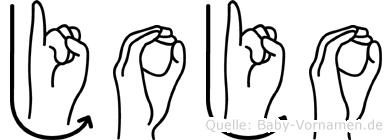 Jojo im Fingeralphabet der Deutschen Gebärdensprache