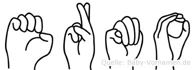 Ermo im Fingeralphabet der Deutschen Gebärdensprache