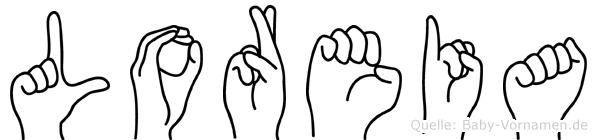 Loreia im Fingeralphabet der Deutschen Gebärdensprache