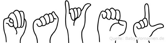 Mayel im Fingeralphabet der Deutschen Gebärdensprache