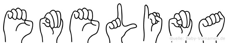 Emelina im Fingeralphabet der Deutschen Gebärdensprache