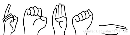 Debah im Fingeralphabet der Deutschen Gebärdensprache