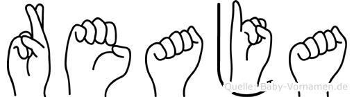 Reaja im Fingeralphabet der Deutschen Gebärdensprache