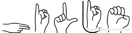 Hilje im Fingeralphabet der Deutschen Gebärdensprache