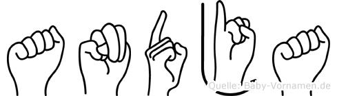 Andja im Fingeralphabet der Deutschen Gebärdensprache
