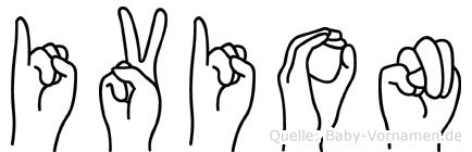 Ivion im Fingeralphabet der Deutschen Gebärdensprache