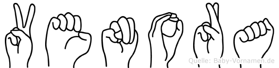 Venora im Fingeralphabet der Deutschen Gebärdensprache