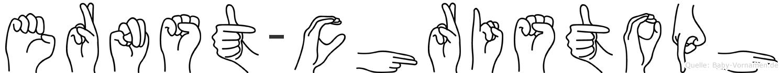 Ernst-Christoph im Fingeralphabet der Deutschen Gebärdensprache