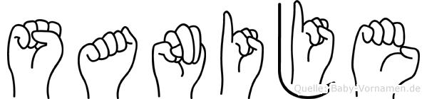 Sanije im Fingeralphabet der Deutschen Gebärdensprache