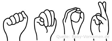 Amor im Fingeralphabet der Deutschen Gebärdensprache