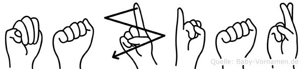 Maziar im Fingeralphabet der Deutschen Gebärdensprache