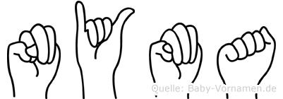 Nyma im Fingeralphabet der Deutschen Gebärdensprache
