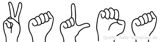 Valea im Fingeralphabet der Deutschen Gebärdensprache