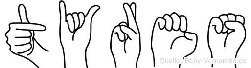 Tyres in Fingersprache für Gehörlose