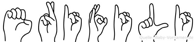Erifili im Fingeralphabet der Deutschen Gebärdensprache