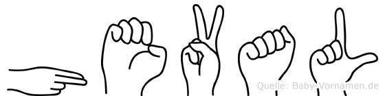 Heval im Fingeralphabet der Deutschen Gebärdensprache