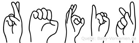 Refik im Fingeralphabet der Deutschen Gebärdensprache