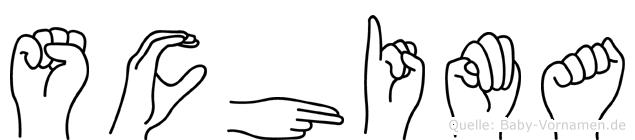 Schima im Fingeralphabet der Deutschen Gebärdensprache