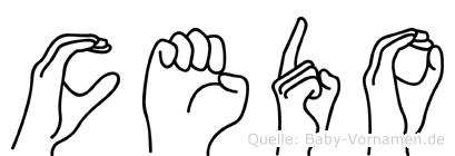 Cedo im Fingeralphabet der Deutschen Gebärdensprache
