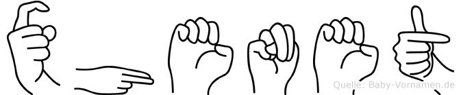 Xhenet im Fingeralphabet der Deutschen Gebärdensprache