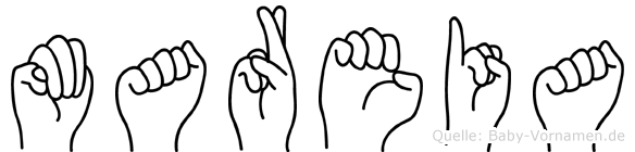 Mareia im Fingeralphabet der Deutschen Gebärdensprache