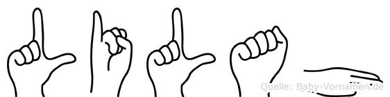 Lilah im Fingeralphabet der Deutschen Gebärdensprache